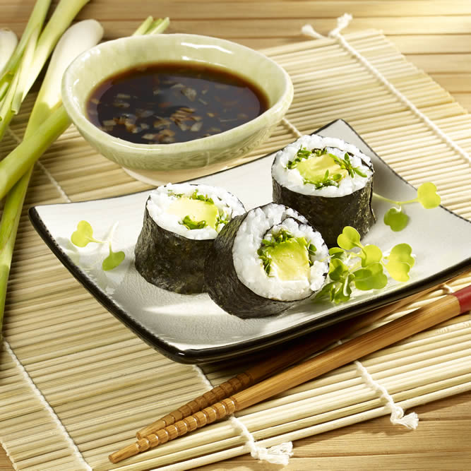 Avocado and cream cheese maki with cress