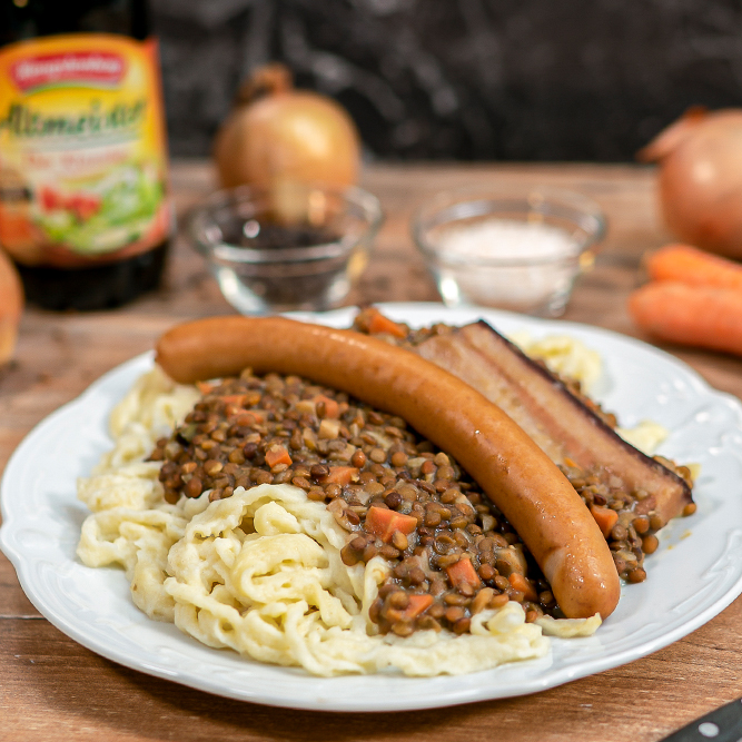 Lentils with spaetzle and Frankfurters