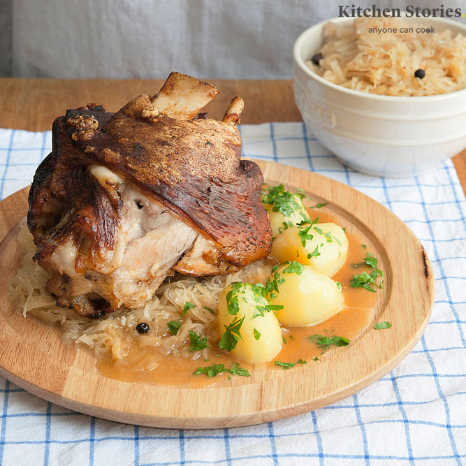 Roast pork with sauerkraut and potatoes